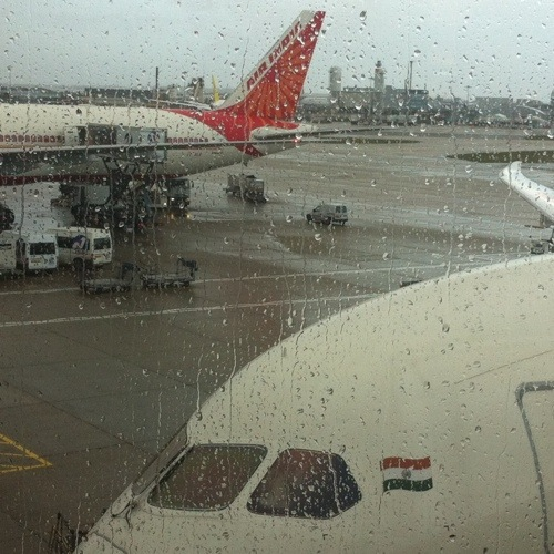 This was my Air India flight from Heathrow to Mumbai. It rained, so typical of the U.K. I will miss