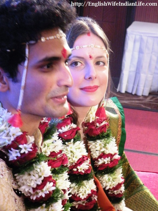 garlands | marathi marriage | brahmin marathi |intercultural marriage |white indian wife | love