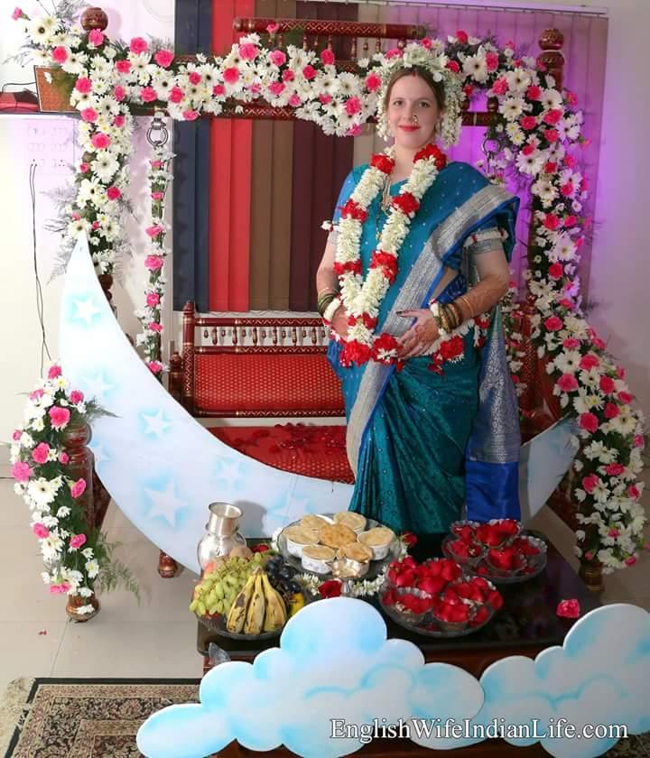 baby bump marathi saree dohale jevan