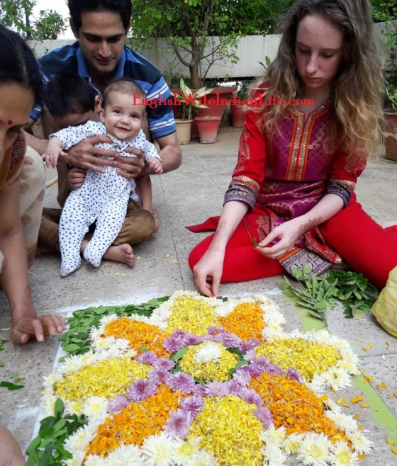 Making Flower Rangoli for Diwali